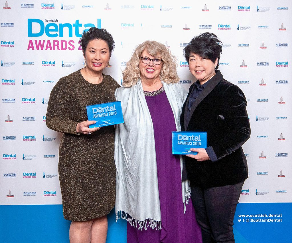 Dr Lisa Currie and Ivin Tan, with Scottish Dental Sales Manager, Ann Craib (centre)